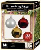 Kerstboom 182 stuks kerstballen mix wit goud rood voor 210 cm boom versiering