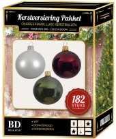 Kerstboom 182 stuks kerstballen mix wit groen donkerrood voor 210 cm boom versiering