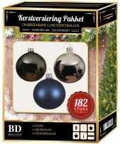 Kerstboom 182 stuks kerstballen mix zilver grijs donkerblauw voor 210 cm b versiering