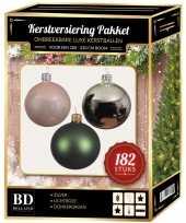 Kerstboom 182 stuks kerstballen mix zilver roze donkergroen voor 210 cm bo versiering