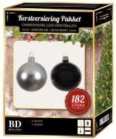 Kerstboom 182 stuks kerstballen mix zilver zwart voor 210 cm boom versiering