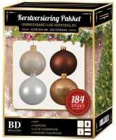 Kerstboom 184 stuks kerstballen mix champagne wit bruin voor 210 cm boom versiering