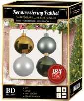 Kerstboom 184 stuks kerstballen mix wit mint goud groen voor 210 cm boom versiering