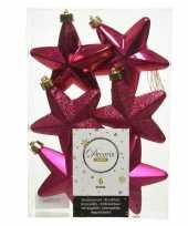Kerstboom 6x bessen roze kunststof sterren kerstballen kersthangers 7 cm versiering