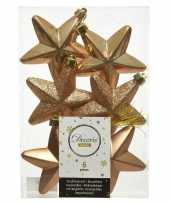 Kerstboom 6x camel bruine kunststof sterren kerstballen kersthangers 7 cm versiering