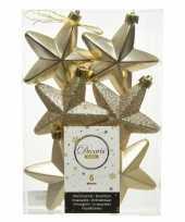 Kerstboom 6x champagne kunststof sterren kerstballen kersthangers 7 cm versiering