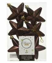 Kerstboom 6x donkerbruine kunststof sterren kerstballen kersthangers 7 cm versiering