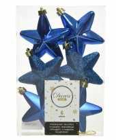 Kerstboom 6x kobalt blauwe kunststof sterren kerstballen kersthangers 7 cm versiering