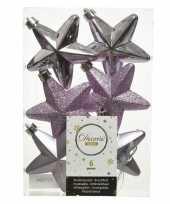 Kerstboom 6x lila paarse kunststof sterren kerstballen kersthangers 7 cm versiering