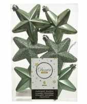 Kerstboom 6x salie groene kunststof sterren kerstballen kersthangers 7 cm versiering