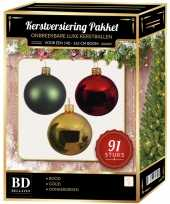 Kerstboom 91 stuks kerstballen mix goud donkergroen rood voor 150cm boom versiering