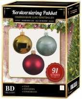 Kerstboom 91 stuks kerstballen mix goud donkerrood mint voor 150 cm boom versiering