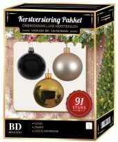 Kerstboom 91 stuks kerstballen mix goud parel zwart voor 150 cm boom versiering