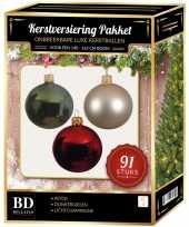 Kerstboom 91 stuks kerstballen mix parel donkergroen rood voor 150 cm boom versiering