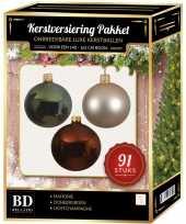 Kerstboom 91 stuks kerstballen mix parel groen mahonie voor 150 cm boom versiering