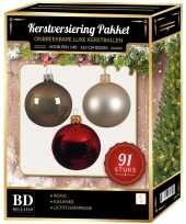 Kerstboom 91 stuks kerstballen mix parel kasjmier rood voor 150 cm boom versiering