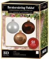 Kerstboom 91 stuks kerstballen mix wit beige mahonie voor 150 cm boom versiering