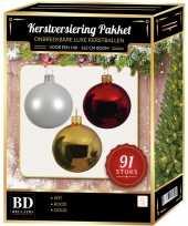 Kerstboom 91 stuks kerstballen mix wit goud kerst rood voor 150 cm boom versiering
