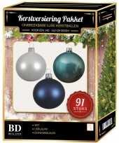 Kerstboom 91 stuks kerstballen mix wit ijsblauw blauw voor 150 cm boom versiering