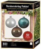 Kerstboom 91 stuks kerstballen mix wit ijsblauw kasjmier voor 150 cm boom versiering