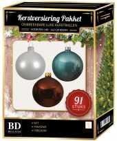 Kerstboom 91 stuks kerstballen mix wit ijsblauw mahonie voor 150 cm boom versiering