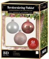 Kerstboom 91 stuks kerstballen mix wit lichtroze oud roze voor 150 cm boom versiering