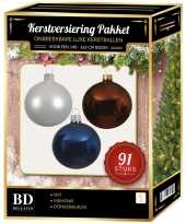 Kerstboom 91 stuks kerstballen mix wit mahonie donkerblauw voor 150cm boom versiering