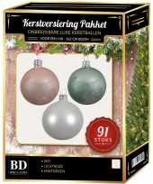 Kerstboom 91 stuks kerstballen mix wit mintgroen lichtroze voor 150cm boom versiering
