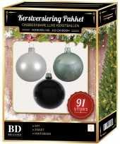 Kerstboom 91 stuks kerstballen mix wit mintgroen zwart voor 150 cm boom versiering