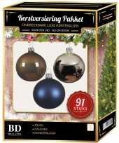 Kerstboom 91 stuks kerstballen mix zilver blauw kasjmier voor 150 cm boom versiering