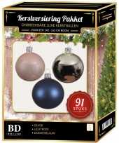 Kerstboom 91 stuks kerstballen mix zilver blauw lichtroze voor 150 cm boom versiering