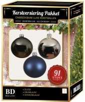 Kerstboom 91 stuks kerstballen mix zilver grijsblauw blauw voor 150cm boom versiering