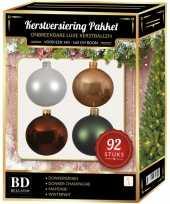 Kerstboom 92 stuks kerstballen mix wit beige bruin groen voor 150 cm boom versiering