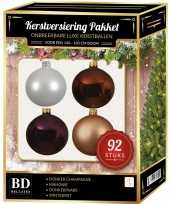Kerstboom 92 stuks kerstballen mix wit beige bruin paars voor 150 cm boom versiering