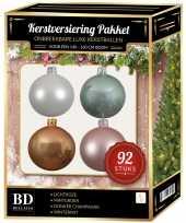 Kerstboom 92 stuks kerstballen mix wit beige mint roze voor 150 cm boom versiering