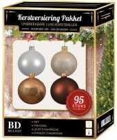 Kerstboom 95 stuks kerstballen mix champagne wit bruin voor 150 cm boom versiering