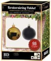 Kerstboom 95 stuks kerstballen mix goud zwart voor 150 cm boom versiering