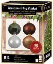 Kerstboom 95 stuks kerstballen mix wit beige groen bruin voor 150 cm boom versiering