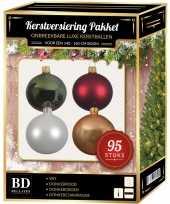 Kerstboom 95 stuks kerstballen mix wit beige groen rood voor 150 cm boom versiering