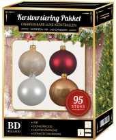 Kerstboom 95 stuks kerstballen mix wit champagne donkerrood 150 cm boom versiering