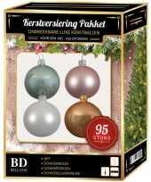 Kerstboom 95 stuks kerstballen mix wit roze mint beige voor 150 cm boom versiering