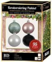 Kerstboom 95 stuks kerstballen mix wit roze mint zwart voor 150 cm boom versiering