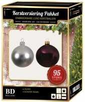 Kerstboom 95 stuks kerstballen mix zilver paars voor 150 cm boom versiering