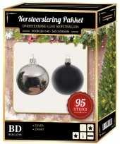 Kerstboom 95 stuks kerstballen mix zilver zwart voor 150 cm boom versiering
