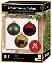 Kerstboom 99 stuks kerstballen mix goud groen rood voor 150 cm boom versiering