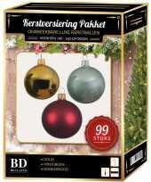 Kerstboom 99 stuks kerstballen mix goud mint donkerrood voor 150 cm boom versiering