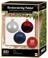 Kerstboom 99 stuks kerstballen mix wit blauw rood voor 150 cm boom versiering