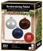 Kerstboom 99 stuks kerstballen mix wit bruin donkerblauw voor 150 cm boom versiering