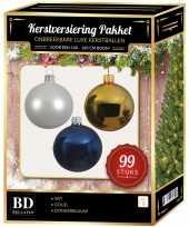 Kerstboom 99 stuks kerstballen mix wit goud donkerblauw voor 150 cm boom versiering
