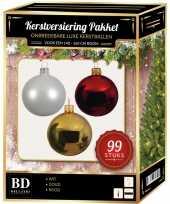 Kerstboom 99 stuks kerstballen mix wit goud rood voor 150 cm boom versiering